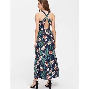 Floral Print Criss Cross Open Back Maxi Dress